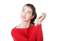 Portrait of a happy young woman looking up Royalty Free Stock Image
