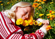 Portrait of happy young woman on meadow Royalty Free Stock Photos