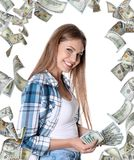 Portrait of happy young woman with money royalty free stock image