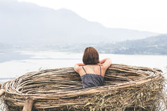 Portrait of happy young woman on the mountains background. Tropical island Bali, Indonesia. Lady in travel. Royalty Free Stock Photos