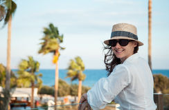Portrait of a happy  young woman near the sea Royalty Free Stock Photos