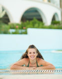 Portrait of happy young woman in pool Royalty Free Stock Photos