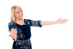 Portrait of happy young woman raising his arms Royalty Free Stock Photo