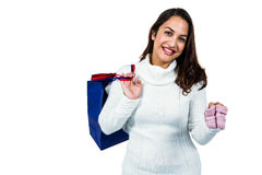 Portrait of happy young woman with shopping bags and footwear Royalty Free Stock Photo
