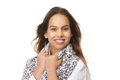 Portrait of a happy young woman smiling Stock Photos