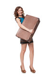 Portrait of happy young woman with suitcase Royalty Free Stock Images