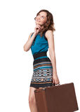 Portrait of happy young woman with suitcase Royalty Free Stock Photos
