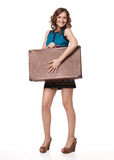 Portrait of happy young woman with suitcase Stock Images