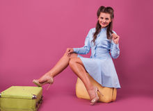 Portrait happy young woman with suitcase. Travel.  Royalty Free Stock Photo