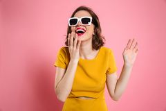 Portrait of a happy young woman in sunglasses Stock Images