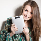 Picture of happy girl with tablet pc computer Stock Image