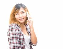 Portrait of happy young Woman Talking On Mobile Phone stock images