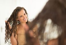 Portrait of happy young woman with wet hair Royalty Free Stock Photos