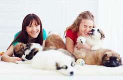 Portrait of happy young women and caucasian shepherd puppies dogs. Lying on the floor stock images