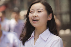Portrait of happy young women on the street, Beijing Stock Photos