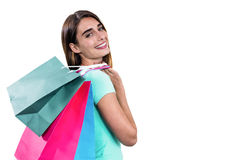 Portrait of hapy woman holding shopping bags Stock Photo