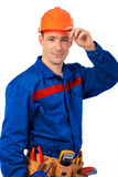Portrait in hard hat Royalty Free Stock Image