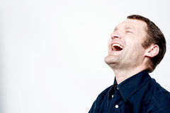 Portrait of hard laughing man Stock Image