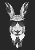 Portrait of Hare in suit. Royalty Free Stock Photos