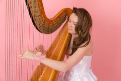 Portrait of harpist Stock Photos