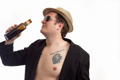 Portrait with hat and alcohol Stock Photography
