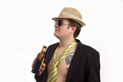 Portrait with hat and alcohol Stock Image
