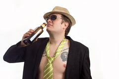 Portrait with hat and alcohol Royalty Free Stock Photos