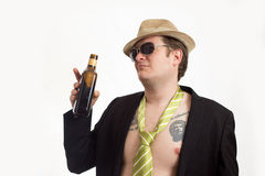Portrait with hat and alcohol Royalty Free Stock Photo
