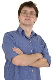 Portrait haughty man in spectaclees. Portrait haughty man in spectacles on white background Royalty Free Stock Images