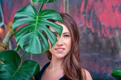 Portrait haut étroit d'une jeune dame de brune, robe bleue de port La pose de fille, regardant la caméra Paume verte photographie stock