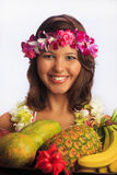 Portrait of a Hawaiian girl with flower lei Royalty Free Stock Image