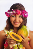Portrait of a Hawaiian girl with flower lei Stock Photo