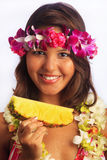Portrait of a Hawaiian girl with flower lei Stock Image