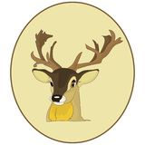 Portrait.The head of a deer in a round frame, cartoon on a white. Background, vector Stock Photo