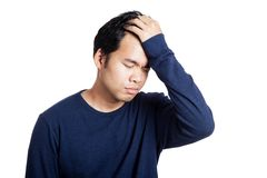 Portrait of headache Asian man Royalty Free Stock Images