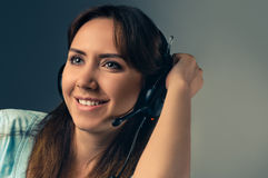 Portrait with headphones Royalty Free Stock Images