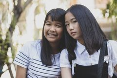 Portrait headshot of asian teenager pose like fashion model royalty free stock photos