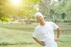 Senior people stretching outdoor Royalty Free Stock Images