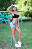 Portrait of healthy fitness girl at outdoors Royalty Free Stock Photography