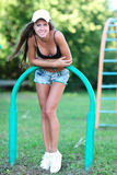 Portrait of healthy fitness girl at outdoors Royalty Free Stock Photo