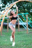 Portrait of healthy fitness girl at outdoors Stock Images
