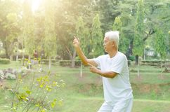 Old people practicing tai chi outdoor Stock Photo