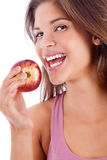 Portrait of a healthy girl smiling with apple Royalty Free Stock Photo
