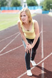 Portrait of healthy girl working out and running Royalty Free Stock Photography