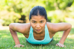 Portrait of a healthy woman doing push ups in park Royalty Free Stock Photos