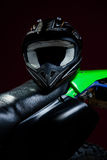 Portrait of helmet  laying on motorcycle. Portrait of helmet laying on motorbike Stock Images