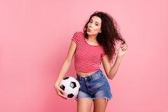 Portrait of her she nice attractive lovely charming cheerful cheery wavy-haired girl holding in hand ball playing with stock photography