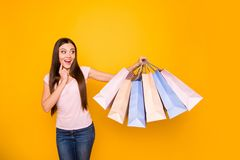 Portrait of her she nice cute charming lovely attractive cheerful cheery feminine straight-haired girl holding in hands. New cool bags purchase isolated on stock photos