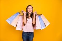 Portrait of her she nice cute charming lovely attractive cheerful cheery positive satisfied straight-haired girl holding. In hands many colorful bags isolated stock image