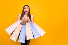 Portrait of her she nice cute charming lovely winsome attractive cheerful cheery straight-haired girl holding in hands. New bags purchase win winner isolated on stock photography